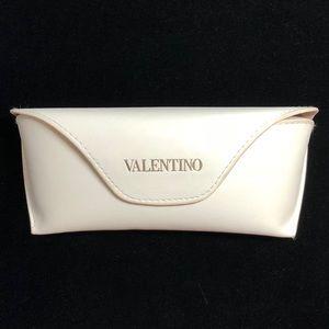 Valentino White Gold Embossed Eyeglasses Case New